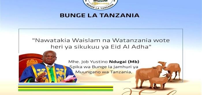 Spika wa Bunge, Job Y. Ndugai (Mb), anawatakia waislam na Watanzania wote heri ya sikukuu ya Eid Al Adha.